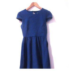 Blue short sleeve cutout back dress
